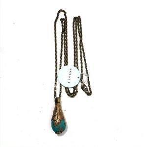 Natalie B. Jewelry - Natalie B Tibet Drop Necklace in Turquoise Brass